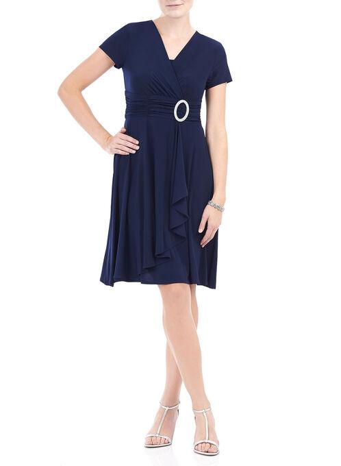 Cap Sleeve Jewelled Trim Dress, Blue, hi-res
