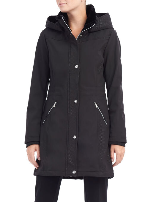 Softshell Hooded Jacket, Black, hi-res
