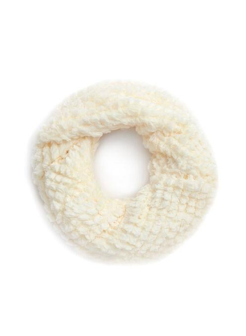 Faux Fur Twist Loop Scarf, Off White, hi-res