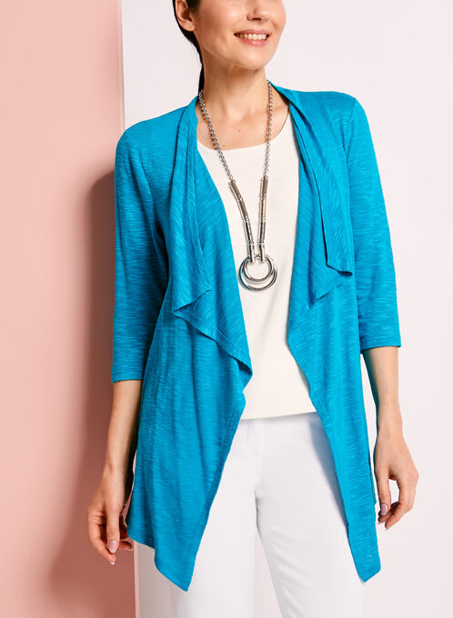 3/4 Sleeve Cascade Front Cardigan, Blue, hi-res