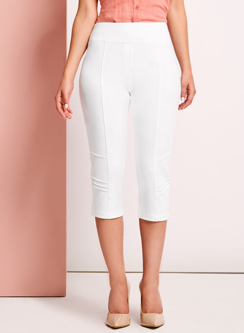 Picadilly Pull-On Capri Pants, White, hi-res