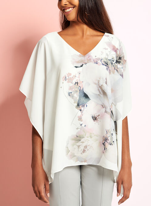 Floral Print Poncho Top, White, hi-res