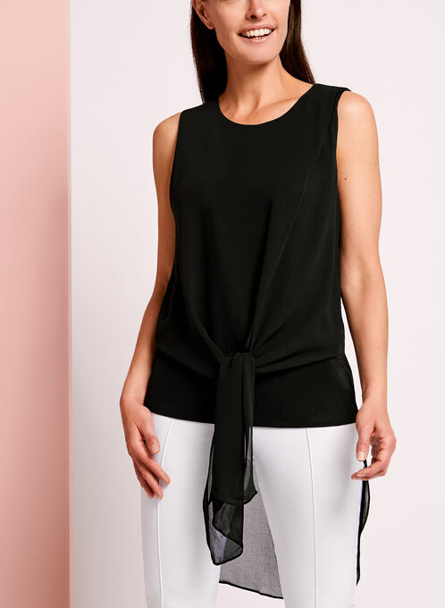 Sleeveless Tunic Blouse , Black, hi-res