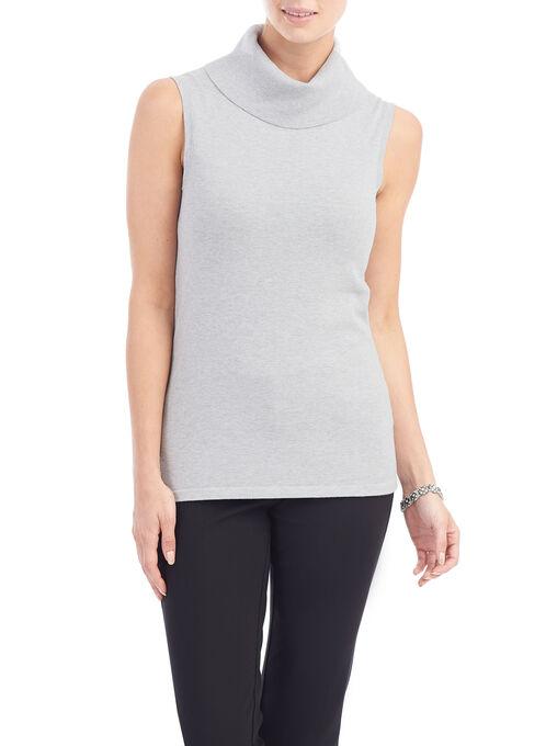 Sleeveless Knit Cowl Neck Top, Grey, hi-res