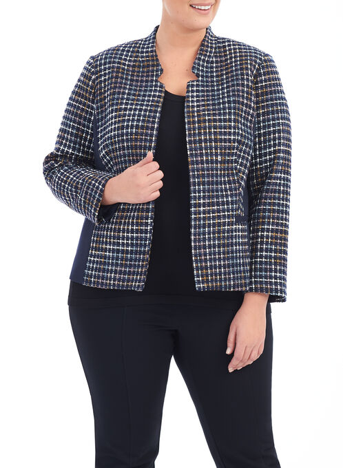 Knit Bouclé Jacket , Blue, hi-res