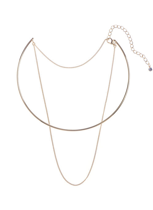 Wire & Chain Choker, Gold, hi-res