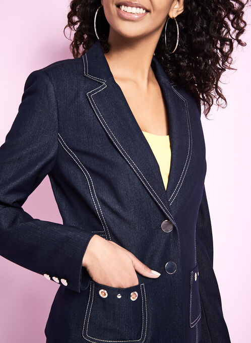 Notch Collar Denim Blazer, Blue, hi-res