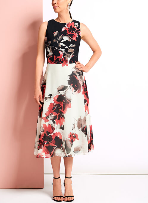 Floral Print Fit & Flare Midi Dress, Black, hi-res