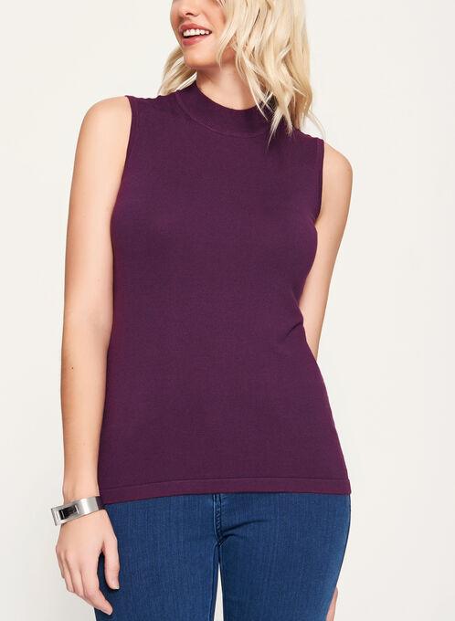 Mock Neck Jersey Knit Top, Purple, hi-res