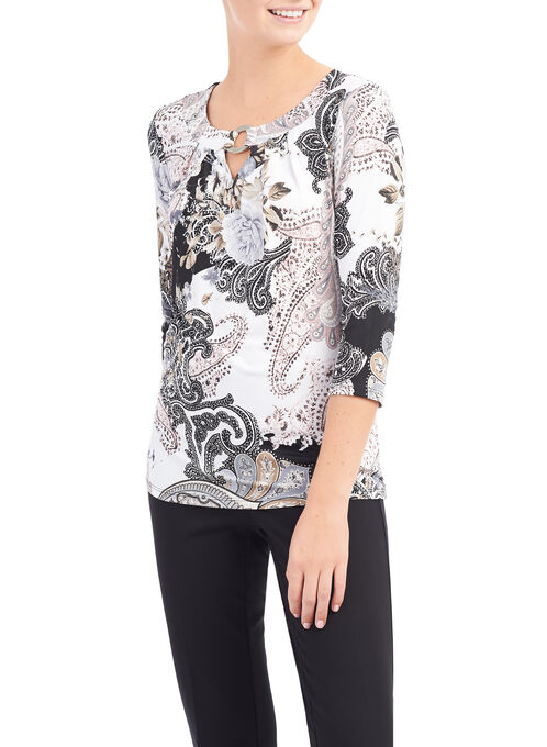 Paisley Print Tunic Top, Red, hi-res