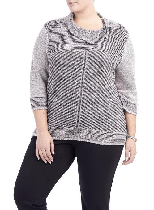 3/4 Sleeve Split Collar Sweater, Grey, hi-res
