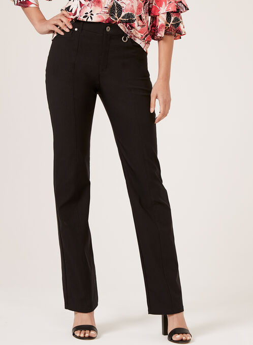 Simon Chang - Straight Leg Microtwill Pants, Black, hi-res