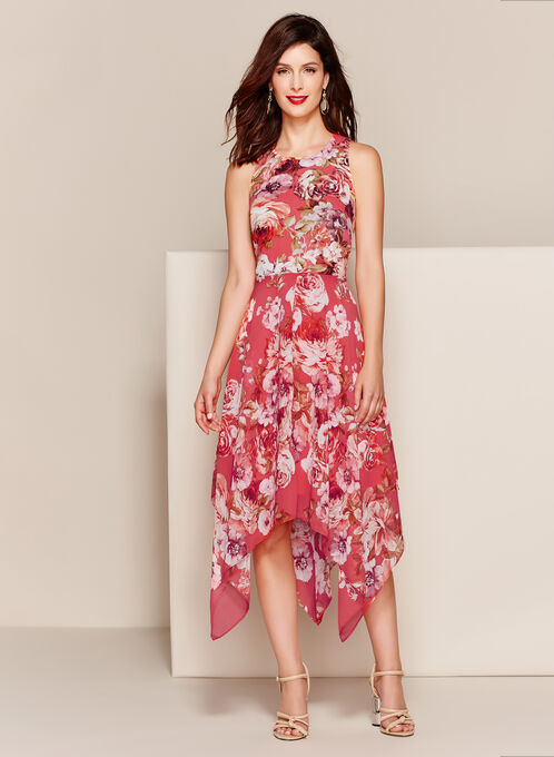 Shark Bite Hem Floral Print Dress, Orange, hi-res