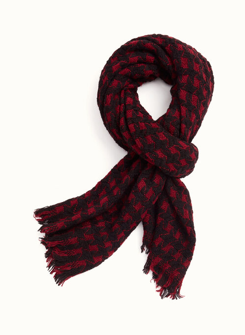 Weaved Wrap Scarf, Red, hi-res