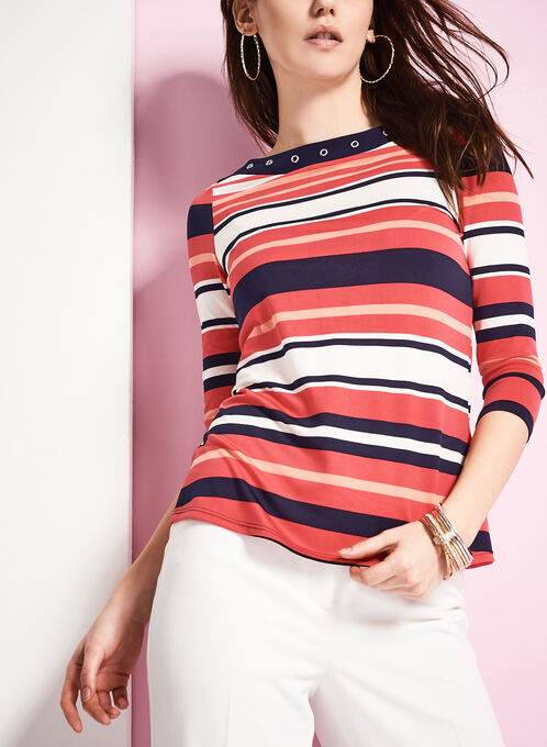 3/4 Sleeve Stripe Print Top, Blue, hi-res