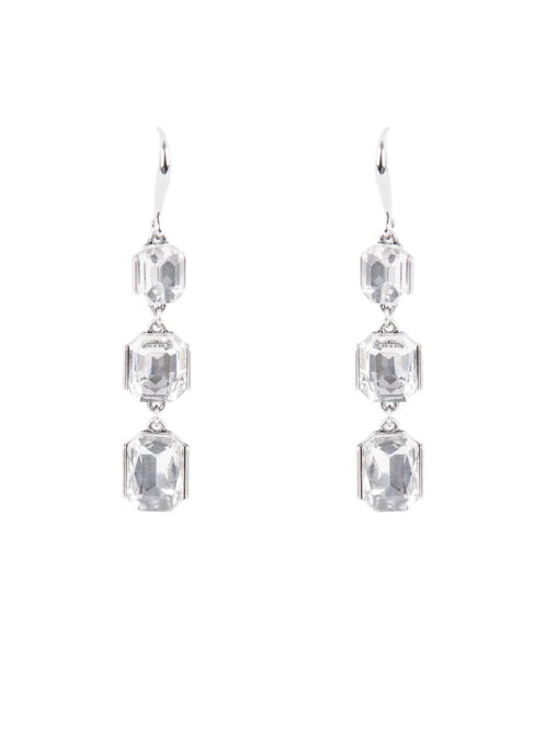 Tiered Faceted Stone Earrings , Silver, hi-res
