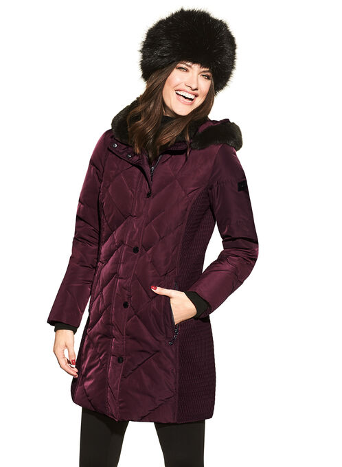 Novelti Faux Fur Down Coat , Red, hi-res