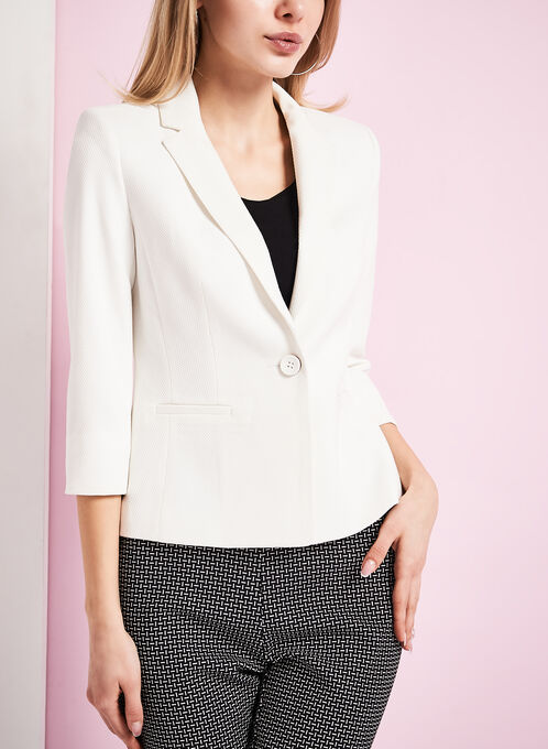 One-Button Pique Ponte Blazer, Off White, hi-res