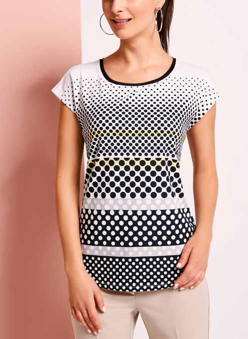 Drop Shoulder Dot Print T-Shirt, Yellow, hi-res