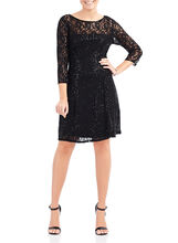 Sequined Lace Fit & Flare Dress, Black, hi-res