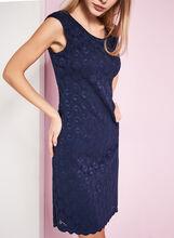 Extended Shoulder Lace Dress, Blue, hi-res