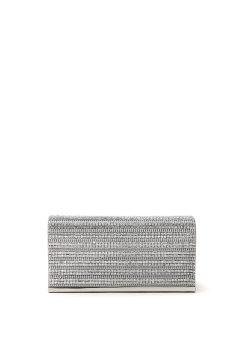 Metallic Trim Beaded Clutch, Silver, hi-res
