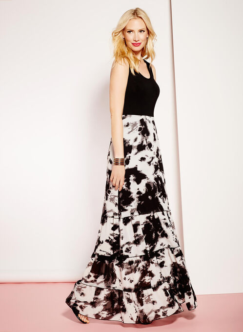 Sleeveless Abstract Print Maxi Dress, Black, hi-res