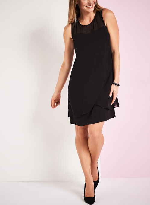 Pearl Collar Shift Dress, Black, hi-res
