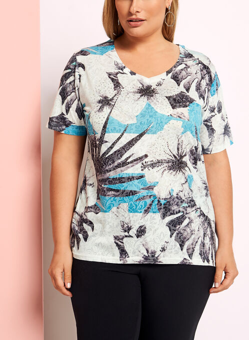 Crystal Embellished Floral Print T-Shirt, Blue, hi-res