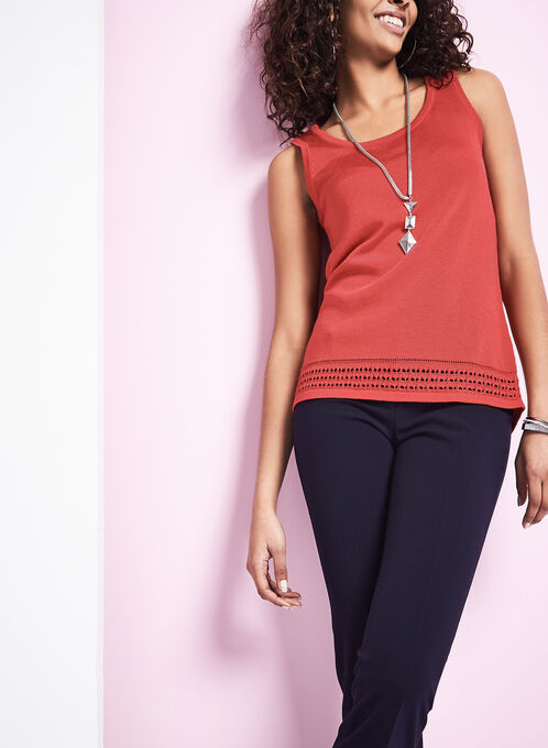 Sleeveless Pointelle Knit Top, Red, hi-res