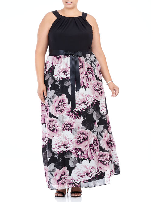 Sleeveless Floral Print Gown , Black, hi-res