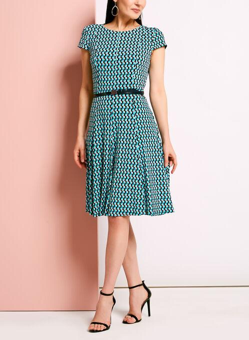 Dot Print Fit & Flare Dress, Blue, hi-res