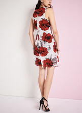 Poppy Print Trapeze Dress, White, hi-res