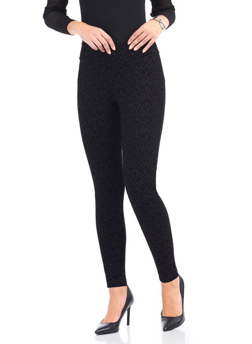 Slim Leg Flocked Leggings , Black, hi-res