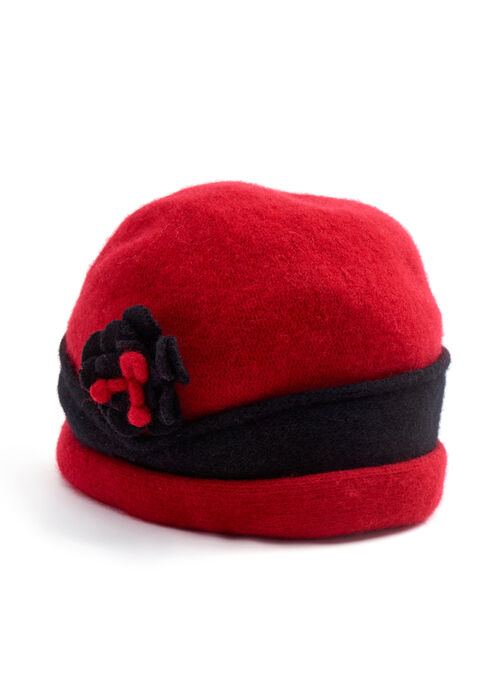 Flower Trim Wool Tuque Hat , Red, hi-res