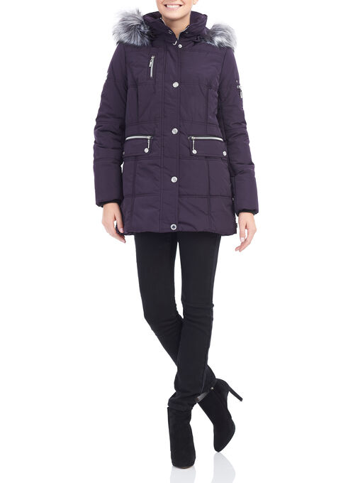 Novelti Faux Fur Polyfill Coat, Purple, hi-res