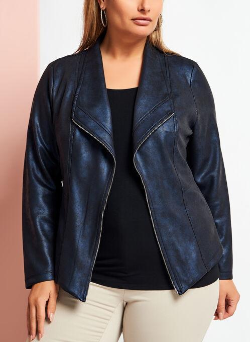 Open Front Scuba Knit Jacket, Blue, hi-res