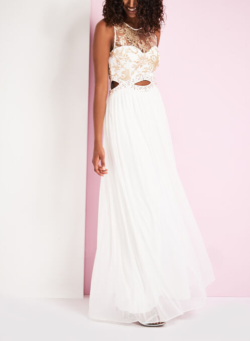 Cutout Mesh & Sequin Bodice Gown, White, hi-res