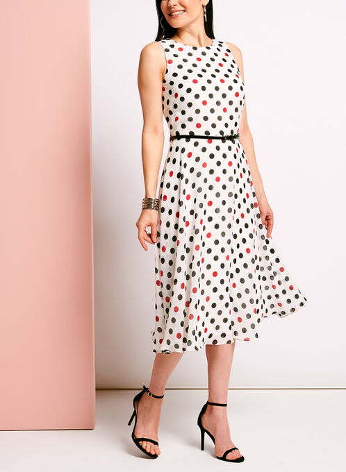 Dot Print Fit & Flare Dress, White, hi-res