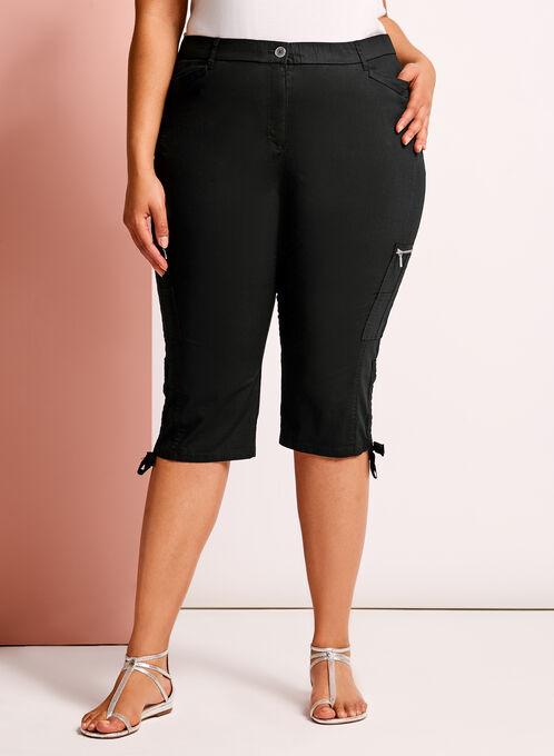 Modern Fit Straight Leg Cargo Capris, Black, hi-res