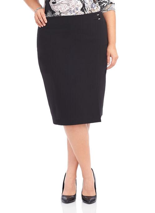 Buckle Detail Pencil Skirt , Black, hi-res