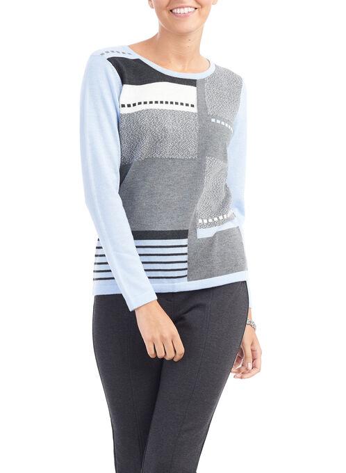 Long Sleeve Crew Neck Sweater, Blue, hi-res