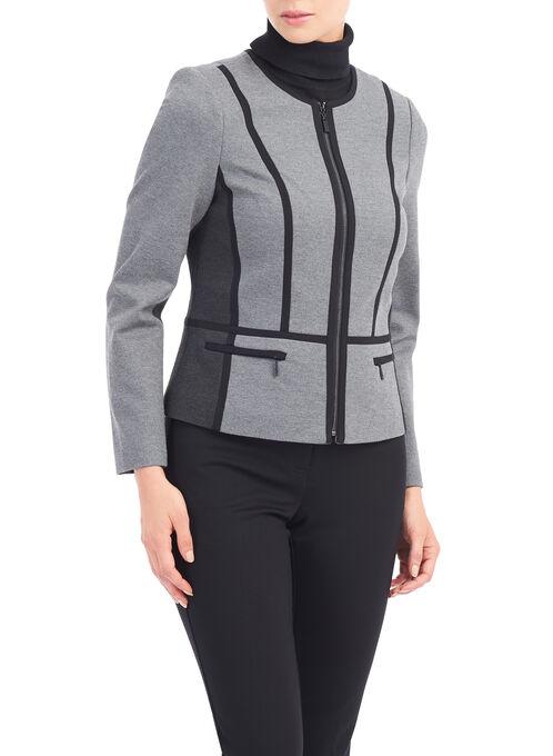 Collarless Zip-Front Jacket, Grey, hi-res