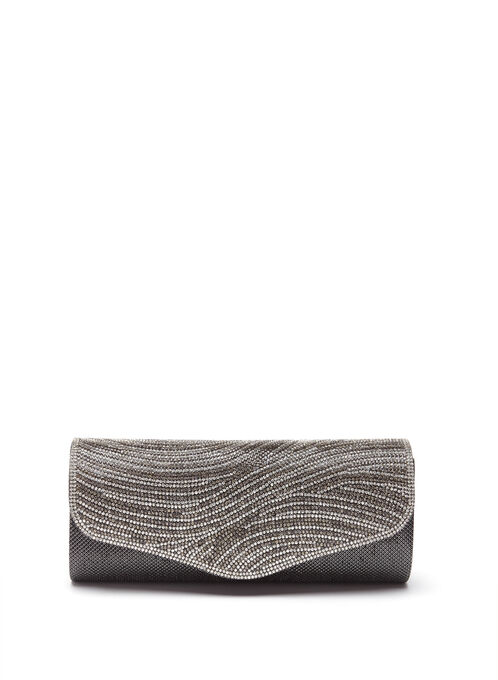 Crystal Encrusted Metallic Clutch, Grey, hi-res