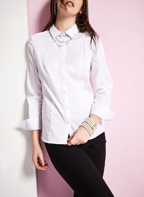3/4 Sleeve Button Front Blouse, White, hi-res
