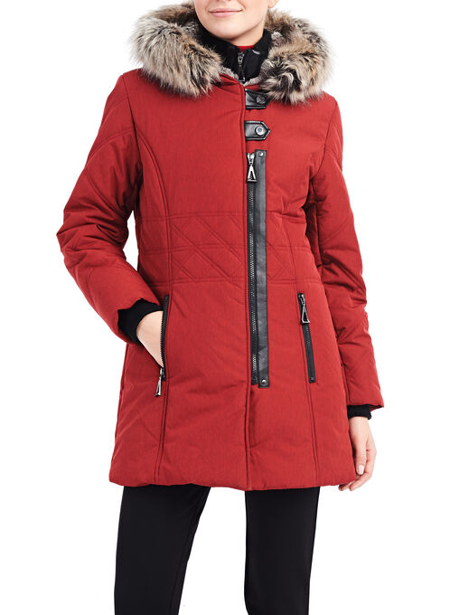Faux Fur Polyfill Coat, Red, hi-res