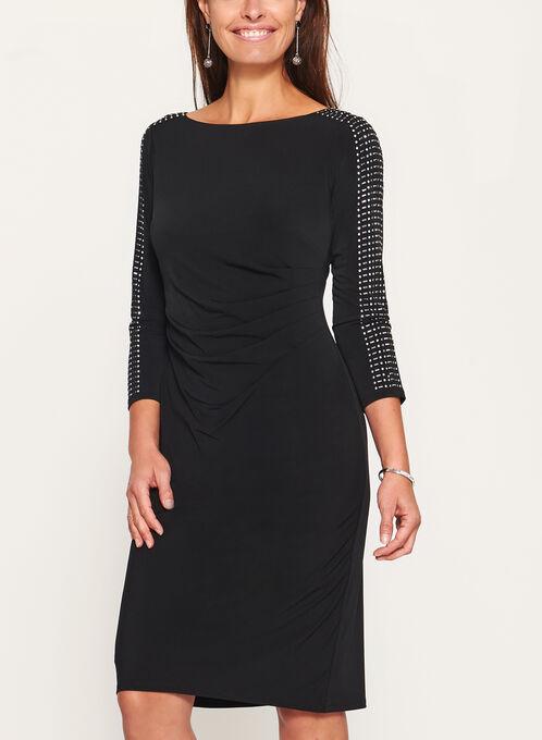 Embellished Sleeve Jersey Dress, Black, hi-res