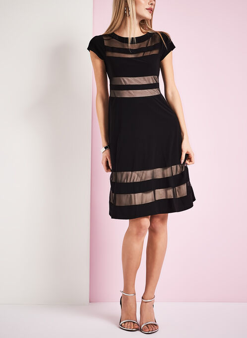 Fit & Flare Mesh Illusion Dress, Black, hi-res