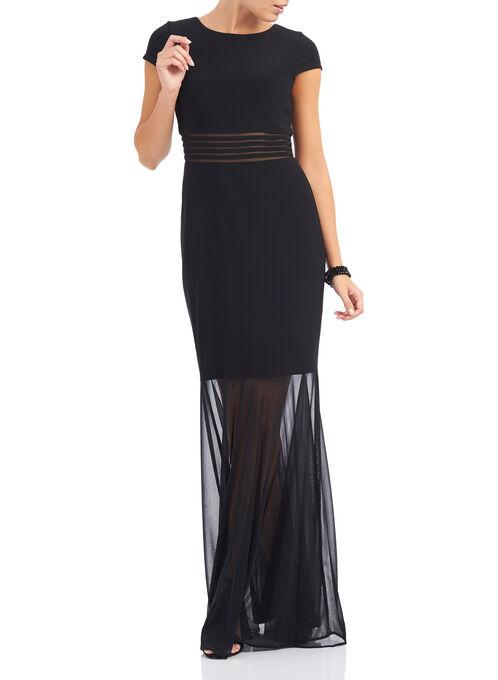 Jersey & Mesh Mermaid Gown , Black, hi-res
