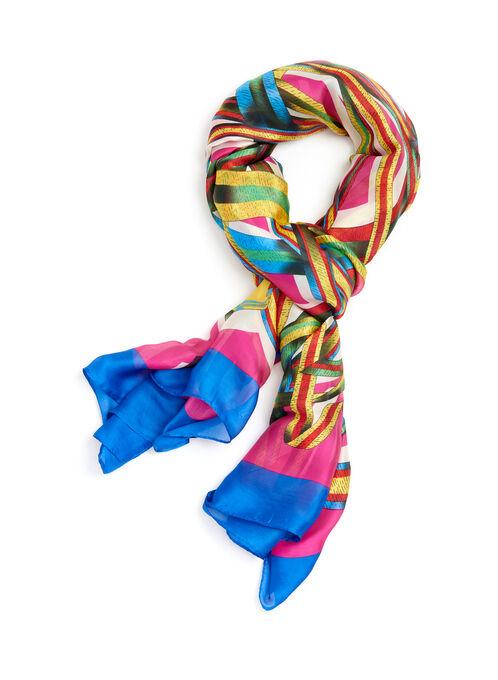 Ribbon Print Oblong Scarf, Pink, hi-res